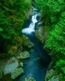 Взгляд водопада от приостанавливанного моста Стоковые Изображения