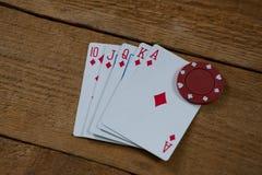 Взгляд высокого угла карточек и обломока Стоковая Фотография RF