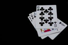 Взгляд высокого угла карточек клубов Стоковая Фотография RF