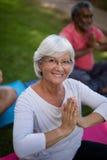 Взгляд высокого угла усмехаясь старшей женщины размышляя в положении молитве Стоковое Фото