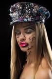 Взгляд высокой моды красивой стильной белокурой женщины Стоковая Фотография RF