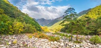 Взгляд в свете утра, национальный парк падения Seorak Seoraksan Стоковые Изображения