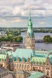 Взгляд Гамбурга от верхнего пункта на ратуше Стоковая Фотография