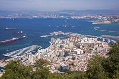 Взгляд Гибралтара и испанского побережья Стоковое фото RF