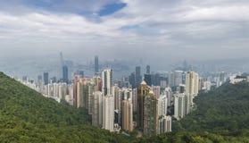Взгляд Гонконга панорамный от пика Виктории Стоковое Фото