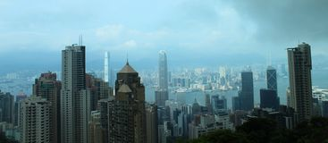 Взгляд горизонта Гонконга от пика Стоковые Изображения RF
