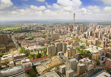 Взгляд горизонта Йоханнесбурга ареальный Стоковые Фотографии RF