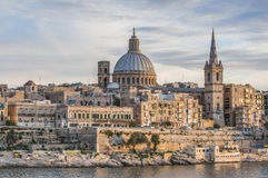 Взгляд горизонта набережной Валлетты, Мальта Стоковые Изображения RF