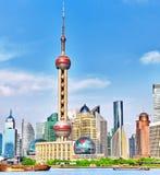 Взгляд горизонта на области Пудуна новой, Шанхае Стоковые Фотографии RF