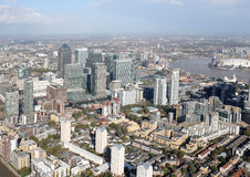 Взгляд горизонта районов доков Лондона сверху Стоковые Изображения RF