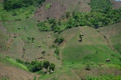 Взгляд гористой местности Moc Chau с предпосылкой горы Стоковые Фотографии RF