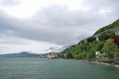 Взгляд города женевского озера Стоковое фото RF