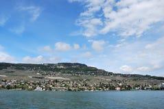 Взгляд города женевского озера Стоковая Фотография RF