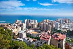 Взгляд города Малаги панорамный, Андалусия, Испания Стоковые Фотографии RF