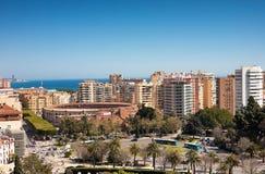 Взгляд города Малаги с кольцом Bull и моря в Испании Стоковые Фото