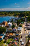 Взгляд города от моста города Чесапика, Marylan Чесапика Стоковое Изображение