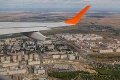 Взгляд города от окна самолета, города России, Саратова Стоковое фото RF