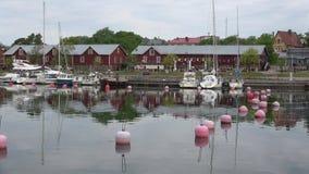 Взгляд города порт Hanko, утра в июне Финляндия видеоматериал