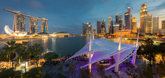 Взгляд города Сингапура панорамный Стоковое Изображение