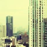 Взгляд города с фильтром instagram стоковые изображения
