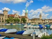 Взгляд города Цюриха в Швейцарии Стоковые Фотографии RF