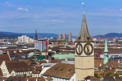 Взгляд города Цюриха, Швейцарии Стоковые Фото