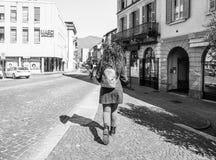 Взгляд города Como в черно-белом Стоковое Изображение