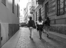 Взгляд города Como в черно-белом Стоковые Изображения