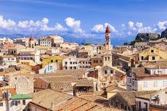 Взгляд городка Корфу, Греция Стоковые Изображения RF