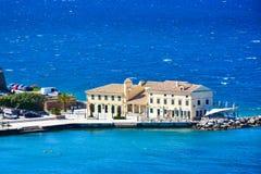 Взгляд городка Корфу от крепости старой цитадели венецианской Стоковое Фото