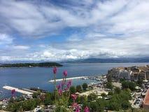 Взгляд городка от новой крепости, Греции Корфу Стоковое Изображение RF