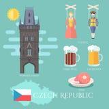 взгляд городка республики cesky чехословакского krumlov средневековый старый Комплект традиционных привлекательностей, сувениров  иллюстрация штока