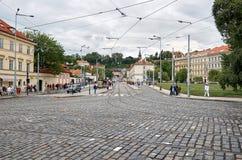 взгляд городка республики cesky чехословакского krumlov средневековый старый улица prague 17-ое июня 2016 Стоковая Фотография