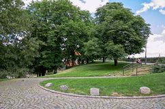 взгляд городка республики cesky чехословакского krumlov средневековый старый Улицы Vysehrad в Праге 18-ое июня 2016 Стоковая Фотография