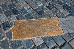 взгляд городка республики cesky чехословакского krumlov средневековый старый Меридиан Праги на старой городской площади 18-ое июн Стоковое Изображение RF