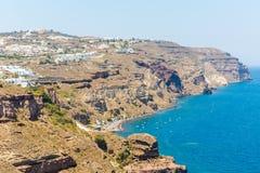 Взгляд городка Fira - острова Santorini, Крита, Греции Стоковое Фото