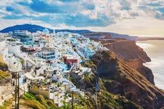 Взгляд городка Fira - Santorini, Греции Стоковые Фотографии RF