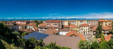 Взгляд городка Fossano, Piemont, Италии Стоковые Изображения RF