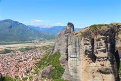 взгляд городка meteora kalambaka Греции стоковые изображения rf