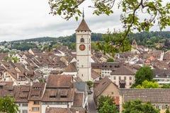 Взгляд городка Schaffhausen старого стоковое фото rf