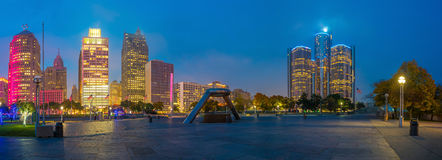 Взгляд городского берега реки Детройта Стоковое Фото