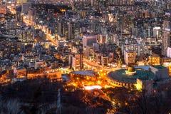 Взгляд городского городского пейзажа в Сеуле, Корее Стоковые Фотографии RF