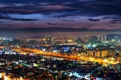 Взгляд городского городского пейзажа в Сеуле, Корее Стоковое Изображение RF