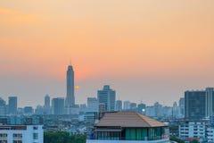 Взгляд городского пейзажа Бангкока на заходе солнца Стоковое Изображение RF