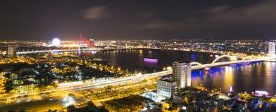 Взгляд городского пейзажа горизонта от крыши башни города пляжа Da Nang Стоковое Изображение