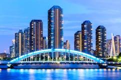 Взгляд городского пейзажа токио и реки Sumida Стоковое Фото