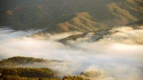 Взгляд горы с туманом Стоковое Фото