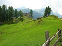 Взгляд гор в швейцарских Альпах Стоковое Изображение