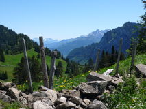 Взгляд гор в швейцарских Альпах Стоковое фото RF
