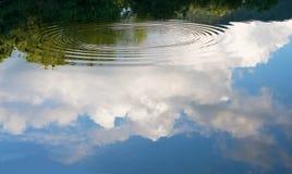 Взгляд голубого неба, облаков и леса отраженных в воде Стоковое Изображение